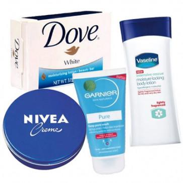 Daily Care Cosmetics - Face Wash + Cold Cream + Dove Soap + Body Lotion