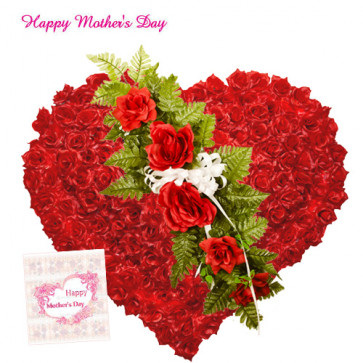 100 Red Roses Heart - Heart Shaped Arrangement of 100 Red Roses and Card