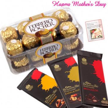 Elegant Chocolates - Ferrero Rocher 16 pcs, 3 Bournville 30 gms each and Card