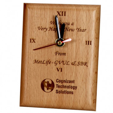 Standing Laser Engraved Wooden Clock & Card