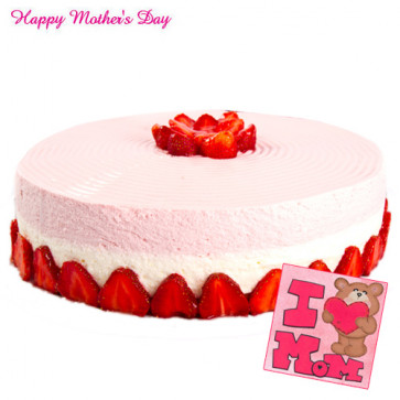Strawberry Cake - Strawberry Cake 1 Kg and Card