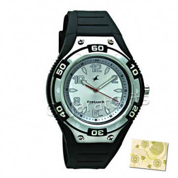 Fastrack Sport Watch Silver Dial Black Strap