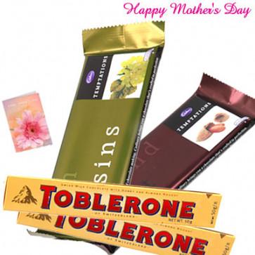 Awsome Chocolates - 2 Temptations, 2 Toblerone amd Card