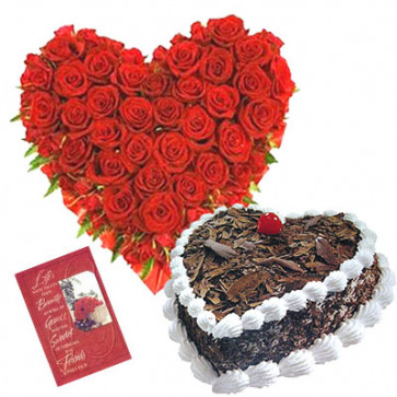 Beauty of Heart - Heart Shape of 40 Red Roses + Black Forest Cake Heart Shaped 1kg + Card