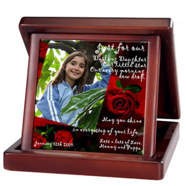 Ceramic Tile in Wooden Foldable Box & Card