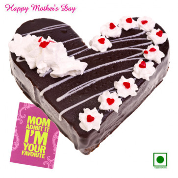 Black Forest Heart Shaped Eggless - 2 kg Black Forest Heart Shaped Eggless Cake and Card