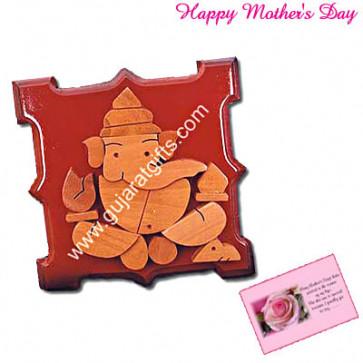 Wooden Slab Ganesha and Card