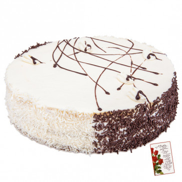 White Forest Cake 1.5 Kg and Card