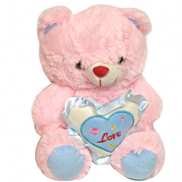 "Lovable Teddy - 6"" Pink Teddy With Heart"