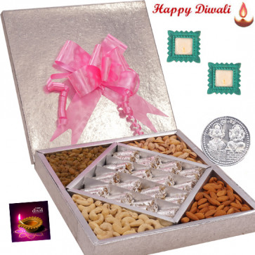 Superb Diwali Treat - Anjir Roll 500 gms & Mix Dry fruits 500 gms  in a decorative box with 2 Diyas and Laxmi-Ganesha Coin