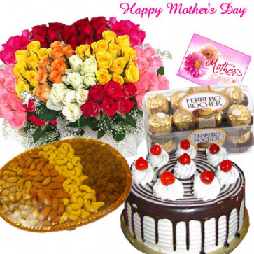 All in One Hamper - 100 Mix Roses, Ferrero Rocher 16 pcs, Assorted Dryfruits 800 gms Basket, 1 Kg Black Forest Cake and Card