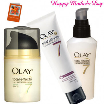Olay Hamper - Olay Anti Aging Cream, Olay Total Effect Cleanse, Olay Total Effect Serum and Card
