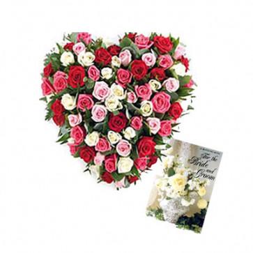 Colorful Arrangement - 50 Multicolor Roses Heart Shaped + Card