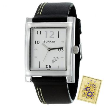 Sonata Analog Watch Black Strap white Dial