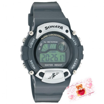 Sonata Digital Watch Grey Dial Black Strap