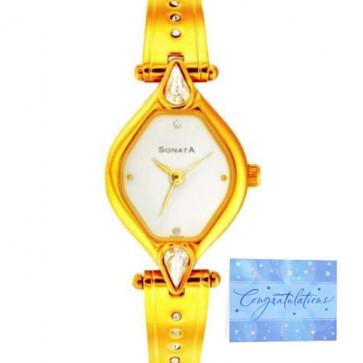 Sonata Analog Metal Watch - Golden