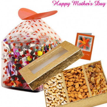 Choco Crunch Treat - Assorted Chocolates 200 gms, 200 gms Assorted Dryfruits Basket and Card