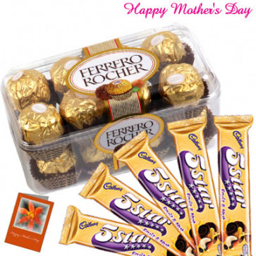 Golden Chocolate Hamper - Ferrero Rocher 16 pcs, 5 Five Stars and Card