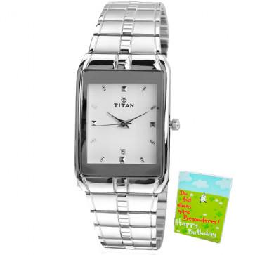 Titan Analog Silver Watch White Dial