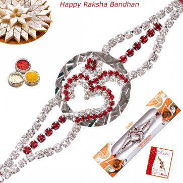 Two Tone Om Diamond Rakhi