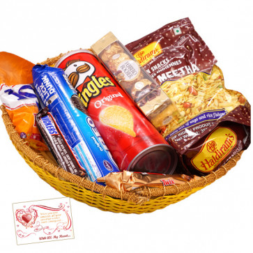 Adorable Gift Basket - Haldiram Namkeen, Oreo Cookies, 1 Snickers, 1 Twix, Pringles Wafers, Ferrero Rocher 4 pcs, Fox Crystal Clear & Card