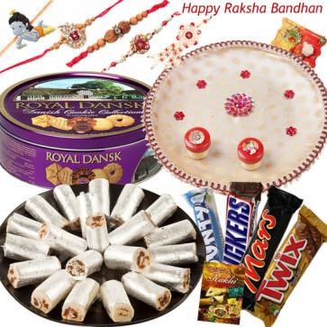 All for Brother - Kaju Anjir Roll 500 gms, Danish Butter Cookies 454 gms, Snickers, Mars, Twix, Bounty, Puja Thali (W) with Set of 5 Rakhis(1 Sandalwood, 1 Auspicious, 1 Pearl, 1 Kids Rakhi and 1 Lumba Rakhi) and Roli-Chawal