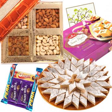 All in One Combo - Kaju Katli, Soan Papdi, Assorted Dryfruits, 5 Assorted Bars