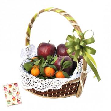 Amazing Fruit Basket - Mix Fruit Basket 2 Kg and Card