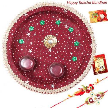 Auspicious Maroon Thali - Puja Thali - Maroon with 2 Rakhi and Roli-Chawal