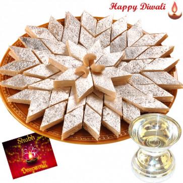 Auspicious Gifts - Silver Diya 10gms, Kaju Katli