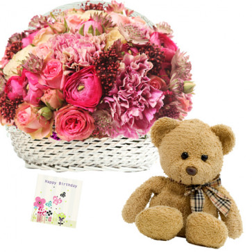 "Beauteous Combo - Basket 15 Pink Mix Flowers + Teddy Bear 6"" + Card"