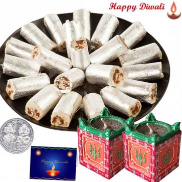 Blissful Gift - 2 Tulsi Diya, Kaju Anjeer Roll with Laxmi-Ganesha Coin