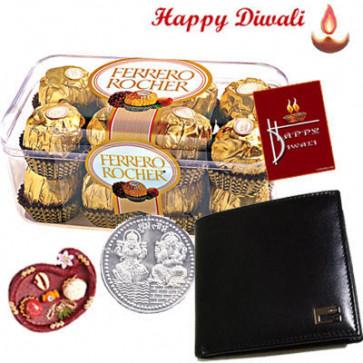 Bond of Love - Leather Wallet, Ferrero Rocher 16 pcs with Bhaidooj Tikka and Laxmi-Ganesha Coin