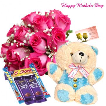 """Bunny For U - Bunch of 15 Pink Roses, 5 Assorted Cadbury Chocolates, Teddy 8"""" and Card"""