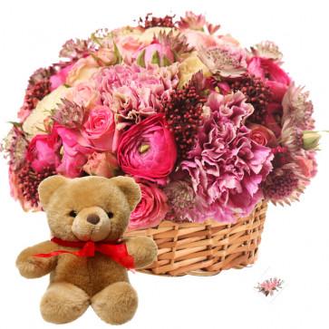 Burst Of Love - 10 Exotic Flowers Basket + Teddy + Card