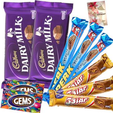 Choco Blast - 2 Cadbury Dairy Milk (L), 3 Perk, 3 Five Star, 2 Gems & Card