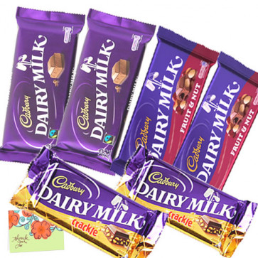 Chocolate Bars - 2 Cadbury Dairy Milk Fruit & Nut, 2 Cadbury Dairy Milk Crackle, 2 Cadbury Dairy Milk Chocolate (L) & Card
