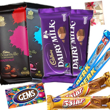 Chocolate Gifts - 2 Bournville, 2 Cadbury Dairy Milk (L), 2 Perk, 2 Five Star, Gems & Card