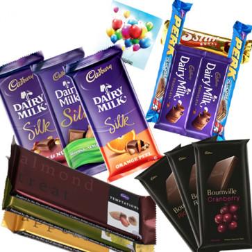 Chocolate Time - 3 Cadbury Dairy Milk Silk, 3 Cadbury Bournville, 3 Temptations, 5 Assorted Bars & Card