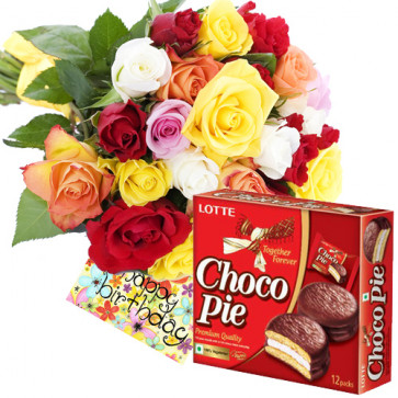 Chocopie - 15 Mix Roses + Chocopie 330 gms + Card