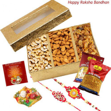 Crispy n Crunchy - Assorted Dry Fruits box, 2 Haldiram Namkeen with 2 Rakhi and Roli-Chawal