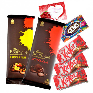 Delicious Chocolates - Cadbury Bournville Rich Cocoa, Cadbury Bournville Raisin n Nut, 3 Kitkat, Gems & Card