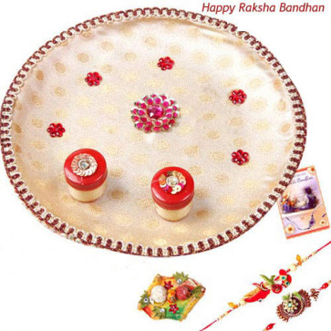 Designer Pooja Thali - Puja Thali - White with 2 Rakhi and Roli-Chawal