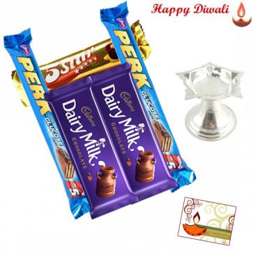Designer Silver Gift - Silver Diya 14gms, 5 Cadbury Bars