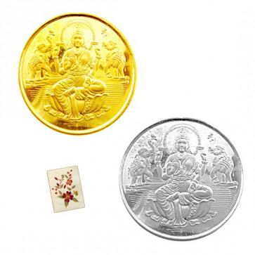 Divine Coin Combo - 22 Karat Gold Coin (0.5 gram) + Silver Coin (10 grams)