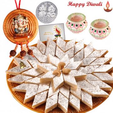 Diwali Blessings - Hanging Ganesha, Kaju Katli with 2 Diyas and Laxmi-Ganesha Coin