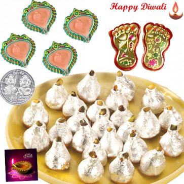 Divine Puja Hamper - Laxmi Step Pair, Kaju Kalash with 4 Diyas and Laxmi-Ganesha Coin