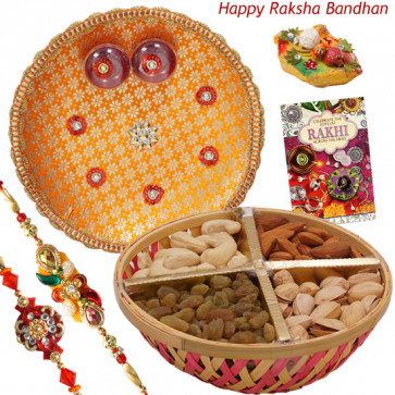 Dryfruit Basket with Thali - Assorted Dry Fruit Basket, Puja Thali (O) with 2 Rakhi and Roli-Chawal