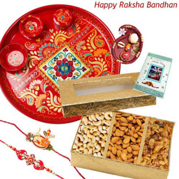 Dryfruit Tray - Assorted Dry Fruits 200 gms, Meenakari Thali 6 inch with 2 Fancy Rakhis and Roli-Chawal
