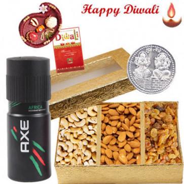 Dynamic Collection - Axe deo, Assorted Dyrfruits with Bhaidooj Tikka and Laxmi-Ganesha Coin